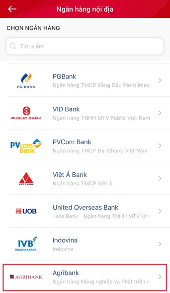 chọn ngân hàng cần liên kết viettel pay