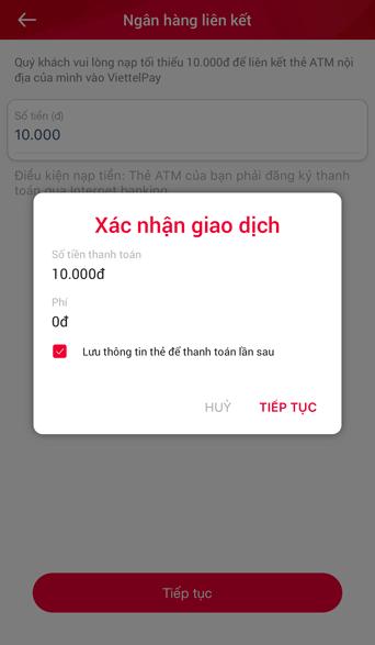 hướng dẫn xác nhận giao dịch liên kết viettel pay