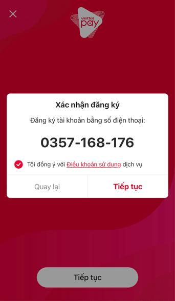 xác nhận số điện thoại đăng ký viettel pay